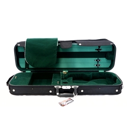 Bobelock 4/4 Violin Case Economy Wood Oblong Green Velvet Interior